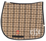 Embroidered Monogram Baker Plaid Dressage Pad - The Houndstooth Horse  - 1