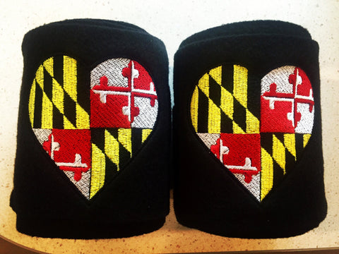 Maryland Flag Heart Embroidered Polo Wraps - The Houndstooth Horse  - 1
