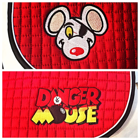 Ultimate Danger Mouse Logo Embroidered Saddle Pad - 3 Sizes - The Houndstooth Horse