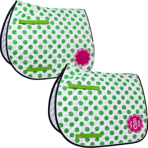Lettia Preppy All Purpose Pads with Monogram - Green Dot , Polka dot - The Houndstooth Horse