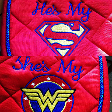 Superman or Wonder Woman Embroidered Saddle Padtest - The Houndstooth Horse