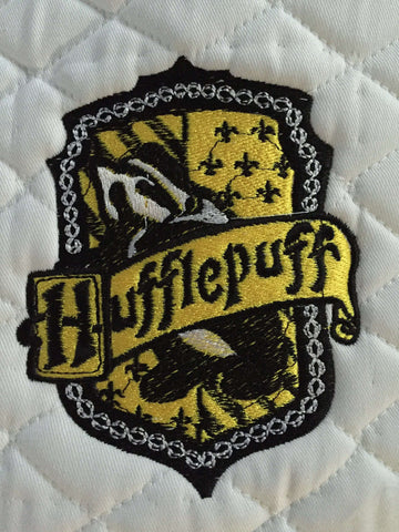 Harry Potter Hufflepuff House Crest Embroidered Saddle Pad - The Houndstooth Horse  - 1