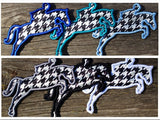 Custom Hunter/Jumper Horse Patch Embroidered Houndstooth Iron on Sew on Glue ontest - The Houndstooth Horse  - 4