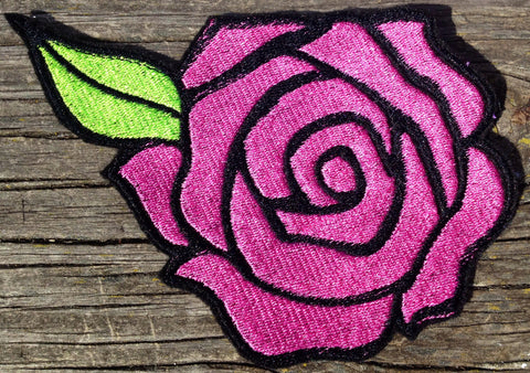 BIG Embroidered Rose Patch iron on sew on glue on rockabilly day of the dead - The Houndstooth Horse  - 1
