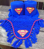 Superman Logo Embroidered Polo Wraps and Fly Bonnet set - The Houndstooth Horse  - 1