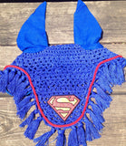 Superman Logo Embroidered Polo Wraps and Fly Bonnet set - The Houndstooth Horse  - 2