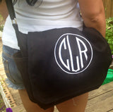 Embroidered Monogram Messenger Bag 100% cotton black white or army green - The Houndstooth Horse  - 2