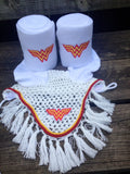 Wonder Woman Logo Embroidered Polo Wraps and Fly Bonnet set - The Houndstooth Horse  - 1