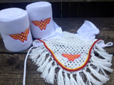 Wonder Woman Logo Embroidered Polo Wraps and Fly Bonnet set - The Houndstooth Horse  - 4