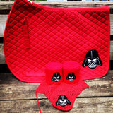 Darth Vader Embroidered Set Saddle Pad, Polo Wraps and Fly Bonnet - The Houndstooth Horse  - 2