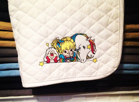 Rainbow Brite Embroidered Baby Pad - The Houndstooth Horse