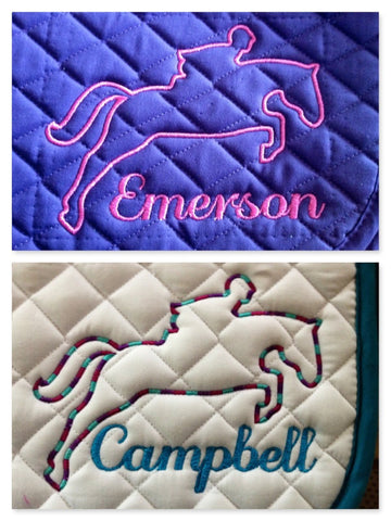 Embroidered Jumper Outline Saddle Pad - The Houndstooth Horse  - 1