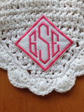 Custom Embroidered Diamond Monogram Patch Iron on Sew on Glue on - The Houndstooth Horse  - 3