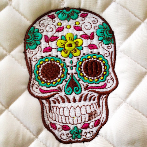 Sugar Skull Embroidered Saddle Pad Polo Wraps Set The