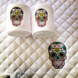 Sugar Skull Embroidered Saddle Pad & Polo Wraps Set - The Houndstooth Horse  - 1