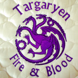 Game of Thrones Dragon Targaryen Fire & Blood Embroidered Saddle Pad - The Houndstooth Horse  - 1