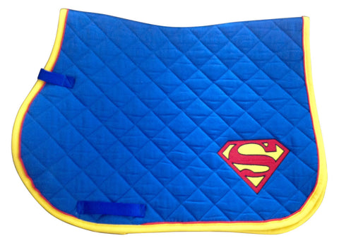 Ultimate Superman Logo Embroidered Saddle Pad - The Houndstooth Horse  - 1