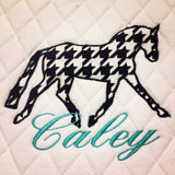 Applique Embroidered Dressage Saddle Pad - The Houndstooth Horse  - 1