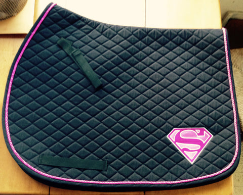 Supergirl Logo Embroidered Saddle Pad - The Houndstooth Horse  - 1