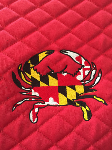 Maryland Flag Crab Embroidered Saddle Pad - The Houndstooth Horse