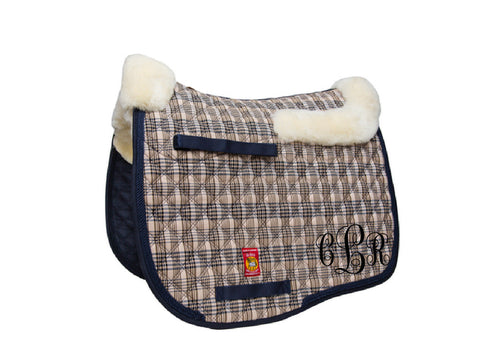 Embroidered Baker plaid double backed sheepskin dressage saddle pad - The Houndstooth Horse  - 1
