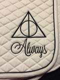 Harry Potter Deathly Hallows Always Logo Embroidered Saddle Pad & Polo Wraps Set - The Houndstooth Horse  - 1