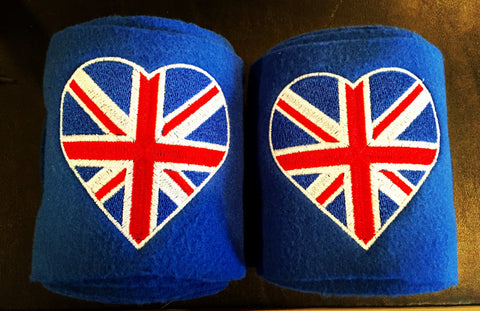 UK Union Jack British Flag Heart Embroidered Polo Wraps - The Houndstooth Horse  - 1
