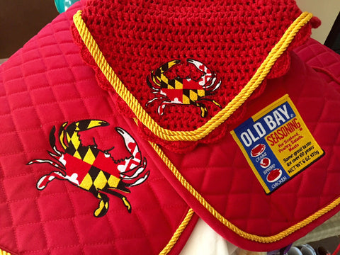 Maryland Flag Crab & Old Bay Embroidered Set Saddle Pad, Polo Wraps and Fly Bonnet - The Houndstooth Horse  - 1