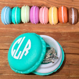 Monogrammed Macaroon jewelry box, pill box, bits and bobbles container