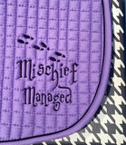 Mischief Managed Embroidered Saddle Pad A/P & Pony - The Houndstooth Horse  - 3