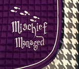 Mischief Managed Embroidered Saddle Pad A/P & Pony - The Houndstooth Horse  - 4