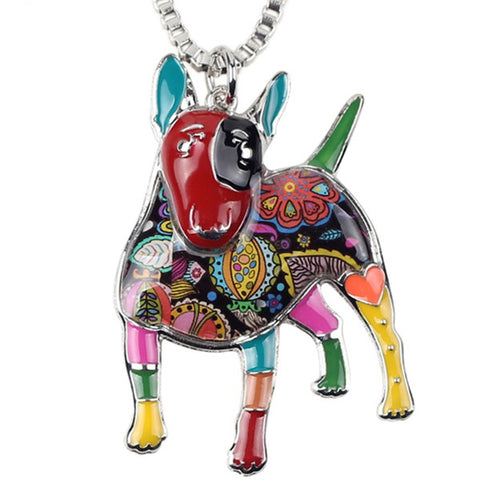 Bull Terrier Enameled Pendant Necklace