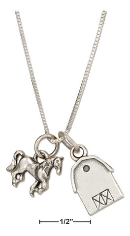 Sterling Silver Barn and Horse Pendant Necklace