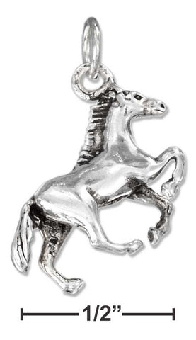 Sterling Silver Three Dimensional Side View Galloping Horse Charm