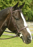 Red Barn Leather SOVEREIGN Fancy Stitched Round Raised Hunter Bridle with Reins