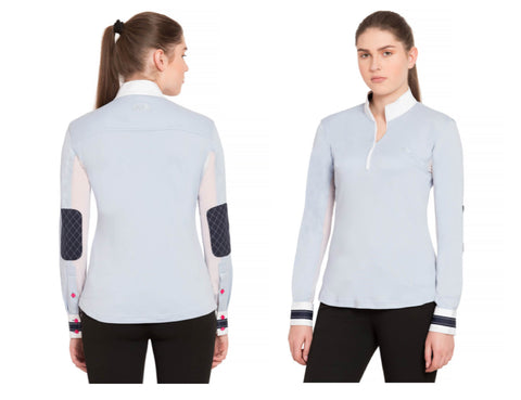 *SALE* Equine Couture Ladies Penelope Sun Shirt w/ Elbow Patches - BLUE