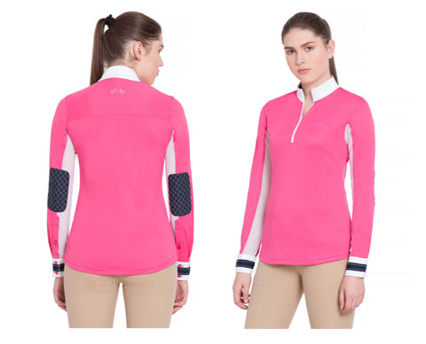*SALE* Equine Couture Ladies Penelope Sun Shirt w/ Elbow Patches - PINK