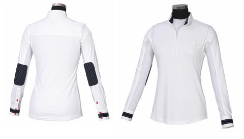 *SALE* Equine Couture Ladies Penelope Sun Shirt w/ Elbow Patches - WHITE