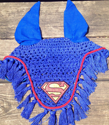 Superman Embroidered Fly Bonnet - The Houndstooth Horse  - 1
