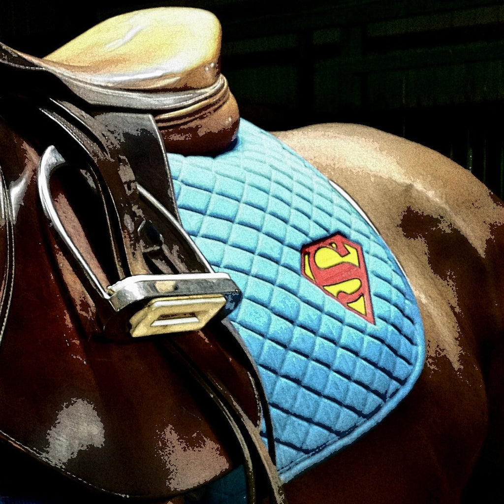 Winter Horse Blankets >> Superman Saddle Pad – The Houndstooth Horse