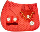 The Flash Logo Embroidered Set Saddle Pad, Polo Wraps and Fly Bonnet - The Houndstooth Horse  - 1