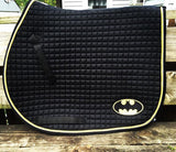 Ultimate Batman Logo Embroidered Saddle Pad - The Houndstooth Horse  - 1