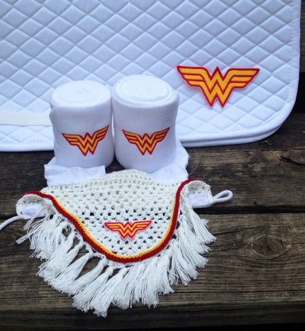 Wonder Woman Logo Embroidered Set Saddle Pad, Polo Wraps and Fly Bonnet (A/P or Dressage) - The Houndstooth Horse  - 1