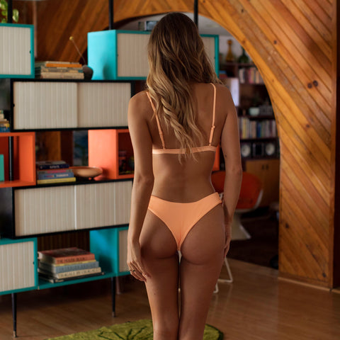 Cheeky Bikini Bottom - Mango Ribbed