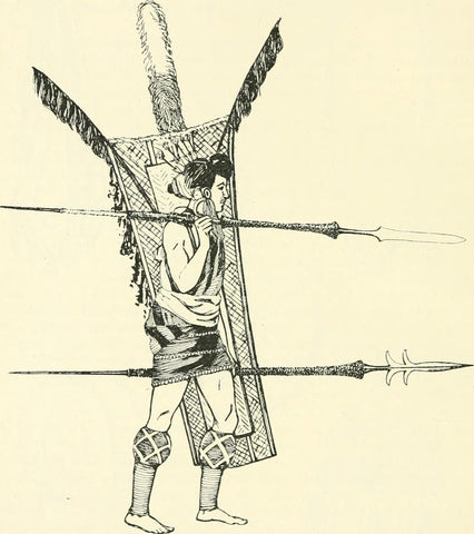 An early 20th century illustration of an Assam warrior with leggings of rattan and other rattan ornaments