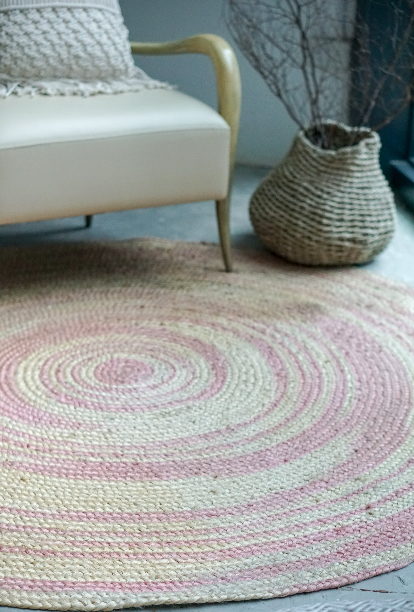Finest Tie Dye Dusty Pink Rug - Living DNA BN09