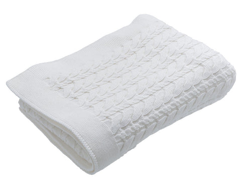 Cable Knit Blanket, Off White