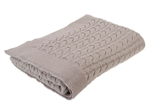 Cable Knit Blanket, Cocoa