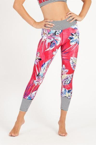 Dharma Bums Tropical Kingdom High Waist 7/8 Printed Legging - yApparel