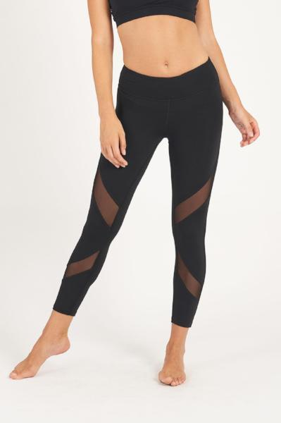 Dharma Bums Black Front Mesh Panel Activewear Legging - 7/8 - yApparel